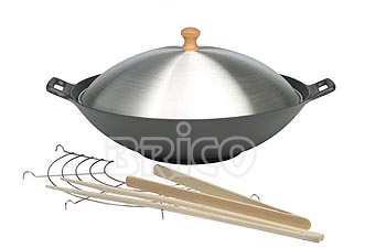 Cast Iron Wok With Aluminium Cover W30A