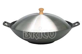 Cast Iron Wok With Aluminium Cover W37A