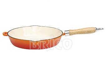 Cast Iron Round Fry Pan with Wooden Handle