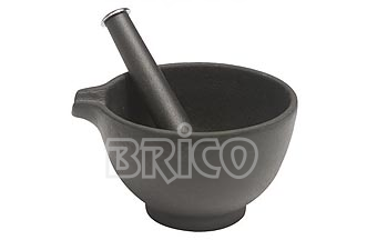 Large Cast Iron Mortar & Pestle with Chromed Top Knob
